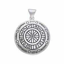 Astrology Zodiac Pagan Wicca wheel year Sterling Silver Pendant by Peter Stone
