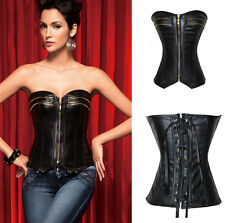 Sexy Womens Faux Leather Zipper Corset Overbust Boned Bustier Top Lingerie S2XL