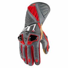 Icon Mens Red/Grey Leather Hypersport Pro Motorcycle Long Gloves