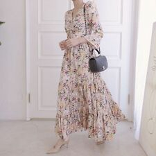 Spring Fashion New Korean Women Flare Sleeve V Neck Floral Pleated Long Dress