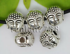 Hot 15/60/300pcs Tibetan Silver two-sided Buddha head Charms Spacer Beads 8x7mm