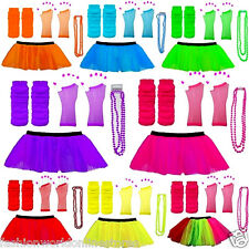 NEW NEON TUTU SKIRTS FANCY DRESS LEG WARMERS GLOVES BEADS 1980S HEN PARTY