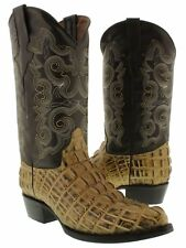 Men's rustic sand crocodile alligator tail leather western cowboy boots rodeo