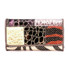 glitter croc checkbook L wallet patchwork green Designer inspired fashion woman