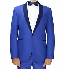 Bright Blue Patterned Semi Slim Fit Dinner Suit With Shawl Lapel