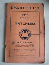 Spares and Parts List for Matchless 1958 350cc 500cc singles 500cc 600cc twins