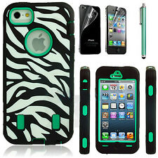 Shockproof Hard Zebra Cover Rugged Protective Case For Apple iPhone 4S 4 Green