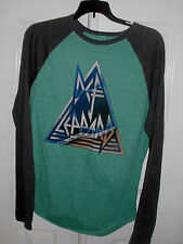 Men's Green & Gray Def Leppard Rock n Roll Print Long Sleeve T Shirt Size S M L