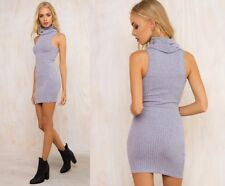 Sleeveless High Neck Knitted Sweater Casual Dress For Women AP1377