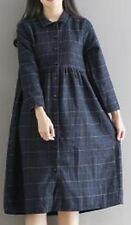 Women Winter and Autumn a Line Plaid Full Sleeve Knee-length Casual Dress
