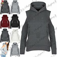 Womens Ladies Hoody Hooded Ripped Hole Distressed Sweatshirt Outwear Jumper Top