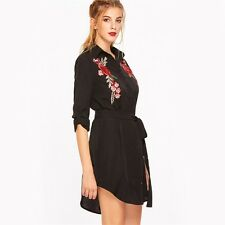 Women Black Floral Embroidered Full Sleeve Curved Belted Above Knee Dress