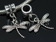 Hot 6/30/150pcs Tibetan Silver Dragonfly Lots Dangle European Charms Bracelet F