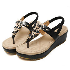 Pop Womens Sandals Summer T-Strap Thongs Lady Wedge Platform Faux Leather Shoes
