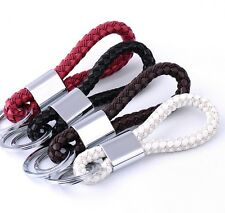Hot Braided Leather Cord Key Chains Logo Two Rings Silver Key Ring Holder