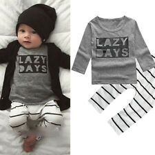 Toddle Baby Boy Letter Print Striped Long Sleeve T-shirt Top Pants Outfit Funny