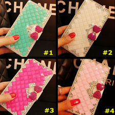 Handmade Bling Crystal Diamonds PU leather flip stand wallet Phone case cover #K