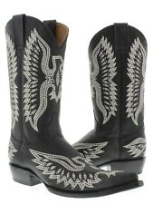 Black Stitched Embroidered Leather Cowboy Boots Western Rodeo Classic 3X Toe