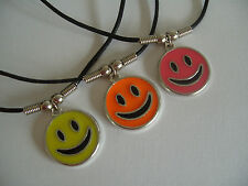 """SMILEY ENAMEL FACE NECKLACE / PENDANT WITH 18"""" BLACK CORD"""