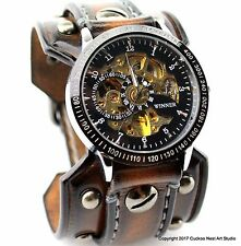 Steampunk Watch with Riveted Aged Brown Leather Cuff, Custom Leather Watch Cuff