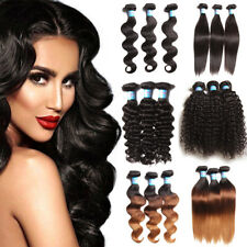 8''-26''Brazilian Curly Straight Body Wave Hair Wavy Human Hair Weft 100g/Bundle