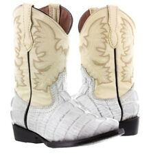 Youth Little Kids Toddler Off White Crocodile Tail Western Leather Cowboy Boots