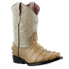 kids toddler beige crocodile tail western leather cowboy boots rodeo little