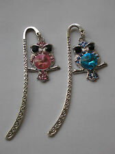 GORGEOUS PINK OR BLUE RHINESTONE/SILVER OWL BOOKMARK IDEAL GIFT FREE GIFT BAG