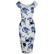 White Blue Vintage Floral Bodycon UK Pencil Wiggle Summer Party Cocktail Dress