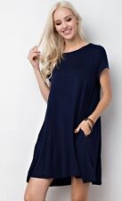 Solid Swing Trapeze Short Sleeve Casual Knit Dress Tunic Pockets Navy Blue
