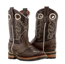 boys kids real brown leather work sole crocodile design western cowboy boots new