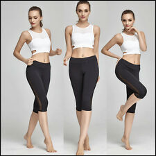 Women YOGA Gym Sports Capri Fitness Stretch Running Tights Cropped 3/4 Pants