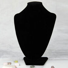 Black Velvet Necklace Pendant Chain Link Jewelry Bust Display Holder Stand WW