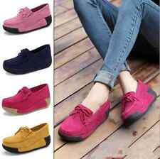 Spring Women Suede Casual Slip On Tassels Shoes Wedges Shoes Platform shoes