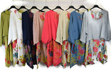 LADIES ITALIAN LAGEN LOOK LOOSE FITTED LINEN FLORAL TWO PIECE POCKETED TUNIC 159