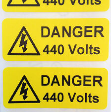 Electrical Safety Warning Labels - 440V Voltage Labels - Yellow 50mm x 20mm