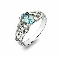 Celtic Ring Blue Topaz Ring Silver Blue Topaz Ring With Celtic Trinity Knots