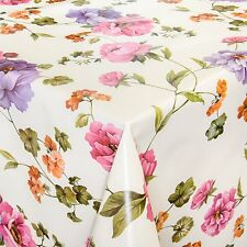 Oilcloth Wax tablecloth washable Tablecloth Flowers Clear Beige