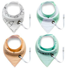 Baby Bandana Drool Bibs with Pacifier Holder 4 Pack,Waterproof Bibs with Snaps