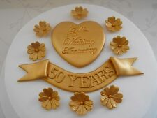 GOLDEN WEDDING ANNIVERSARY CAKE DECORATIONS gold edible sugar flowers toppers
