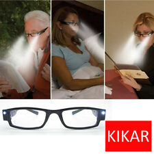 KIKAR Multi Strength LED Reading Glasses Light Up Diopter Eyeglass Plastic Case