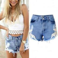 WOMENS HIGH WAISTED DENIM SHORTS JEANS HOTPANTS  Summer Frosted Hole TROUSERS