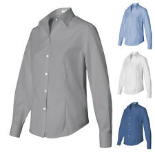 Van Heusen Non-Iron Pinpoint Oxford Cotton Womens Long Sleeve Button Up Shirts 1
