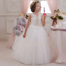 New Lace Applique Ball Gown Flower Girl Dress for Kids Bridesmaid Wedding Party