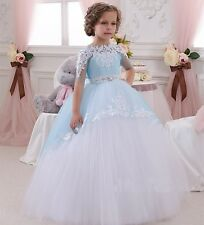 Short Sleeve Crystal Lace Applique Flower Girl Dress Bridesmaid Wedding Party