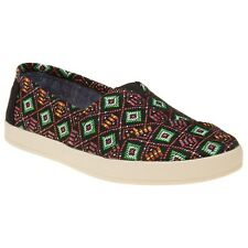 New Womens Toms Black Multi Avalon Textile Shoes Canvas Slip On