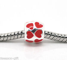 Wholesale Silver Plated Red Enamel Love Heart Beads Fit Charm Bracelet 8x8mm