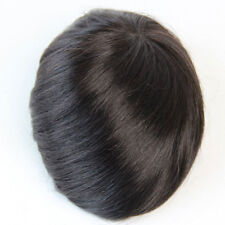 Human Hair Mens Toupee Mono Base with Pu Arround  Hairpiece System Replacement