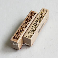 FLORAL RUBBER STAMPS Wooden Vine Lace Pattern Craft Cards Scrapbooking Set of 2