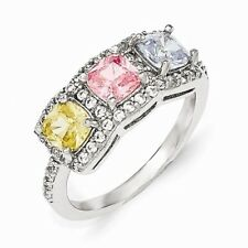 Cheryl M Sterling Silver W/ Rhodium-plated Multi-colored CZ 3 Stone Ring
